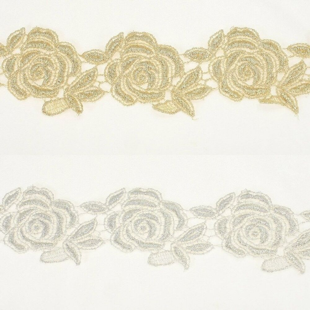Floral Metallic Embroidery Antique Lace Trim #320 By The Yard Bridal Wedding | EBay