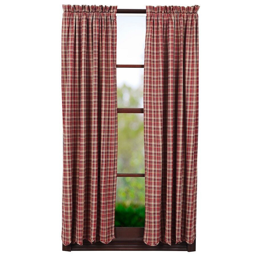 Braddock Short Panel Set Rustic Burgundy Red Tan Primitive