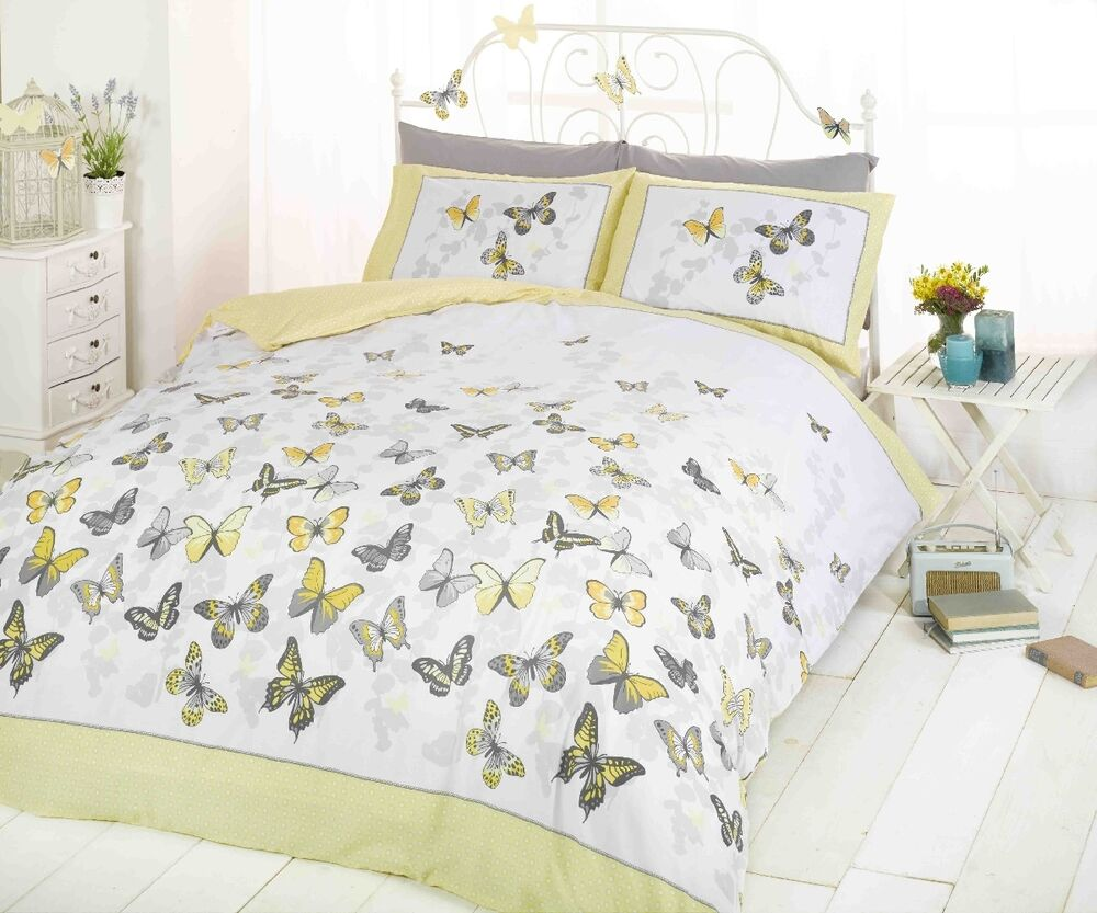 Trendy Funky Cotton Butterfly Lemon Yellow Double Duvet