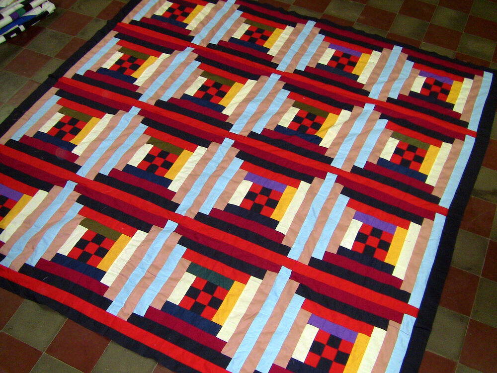 Unusual Quilting Ideas : New Patchwork - Unique Log Cabin 9 Patch variation quilt - (Quilt Top) eBay
