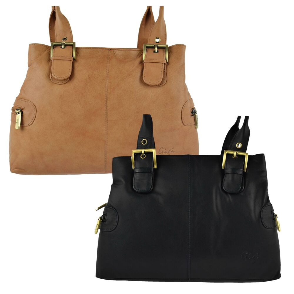Brown Leather Bag With Black Shoes