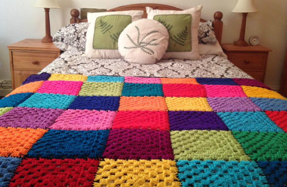 Handmade Crochet Blanket Single Bedspread Acrylic Yarn
