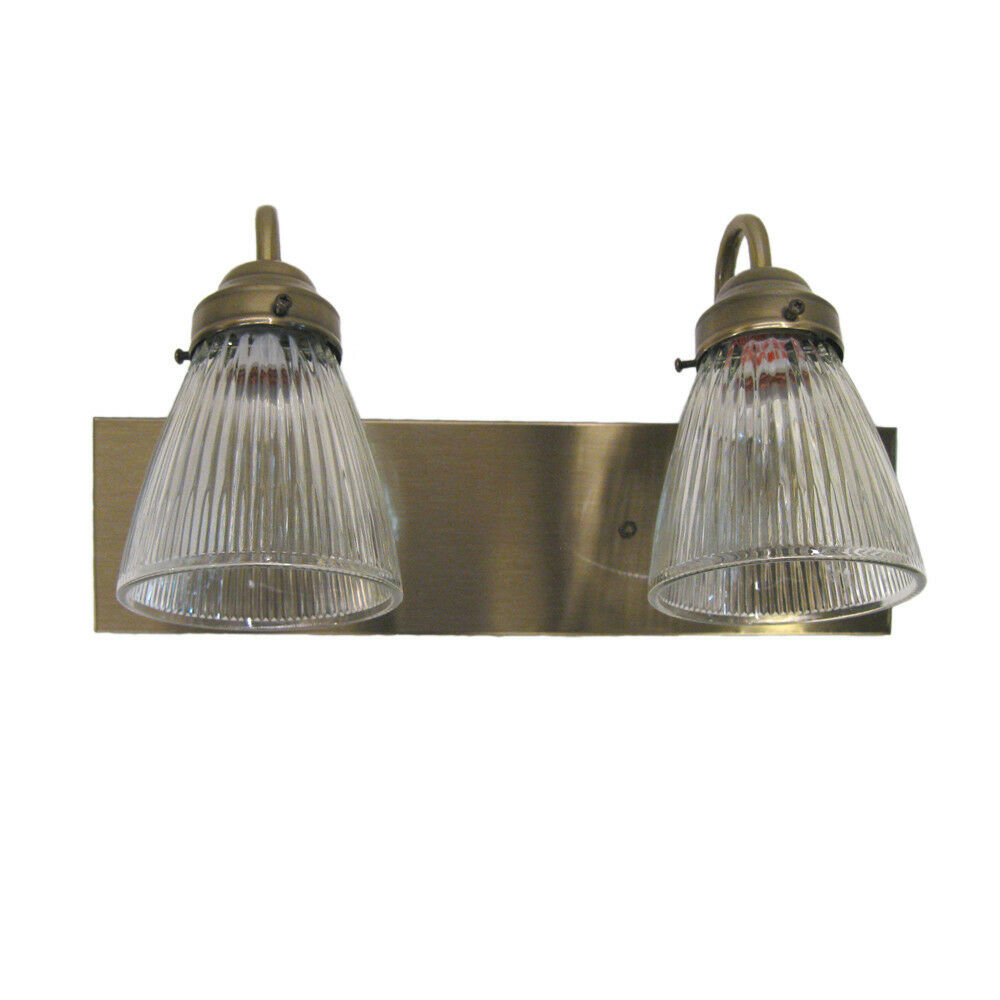 Antique Brass And Clear Ribbed Glass 2 Light 15 Bath Wall