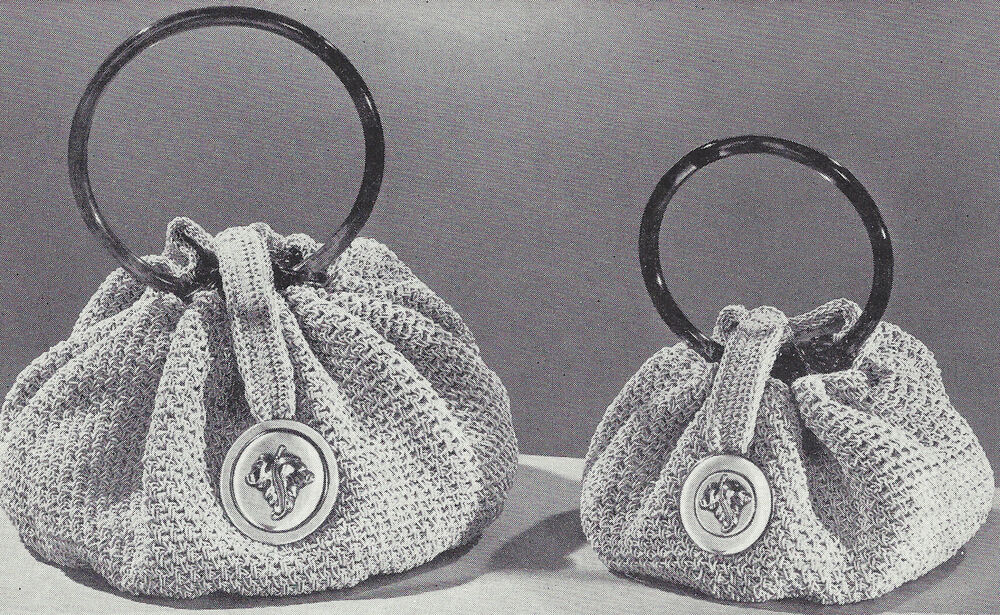 Crochet Handle For Purse : Vintage Crochet PATTERN to make Bracelet Handle Handbag Purse Bag ...