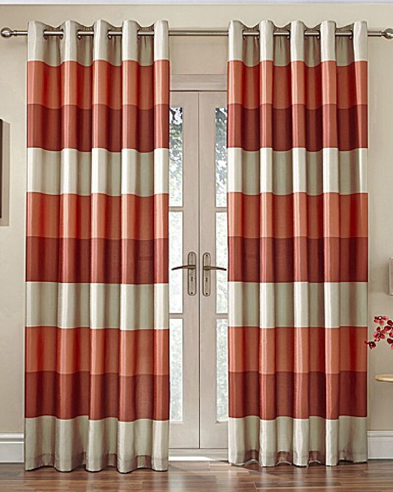 Brazil Orange Beige Striped Faux Silk Lined Ring Top 46 X 54 Curtains Oir Ebay
