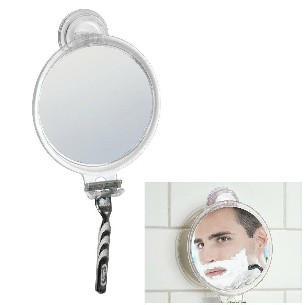 Fog free shaving mirror bath tub and shower with power for Shaving mirror