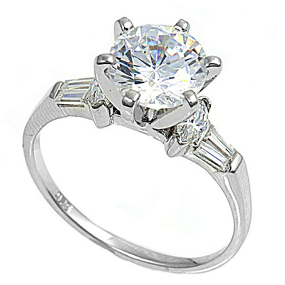 size 4 wedding rings 2ct cz brilliant solitaire with baguette engagement 7534