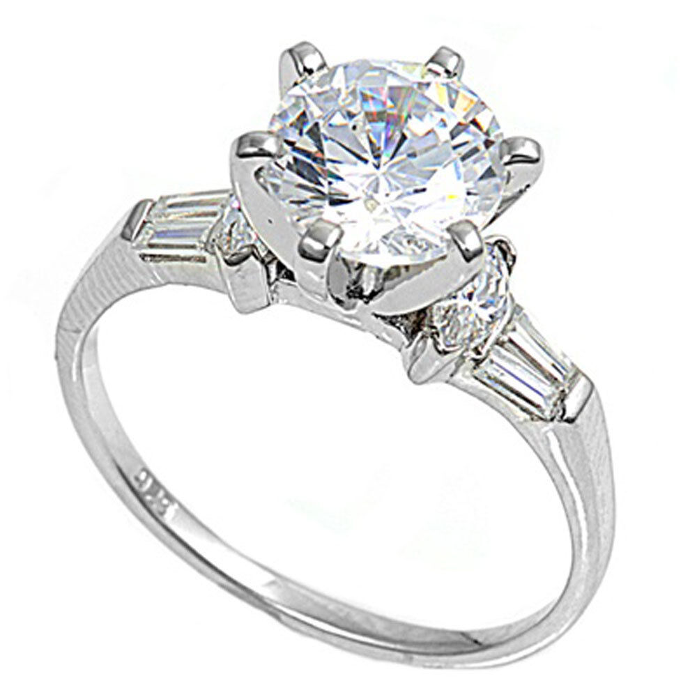 2CT CZ Round Brilliant Solitaire with Baguette Engagement Ring sizes 4 11
