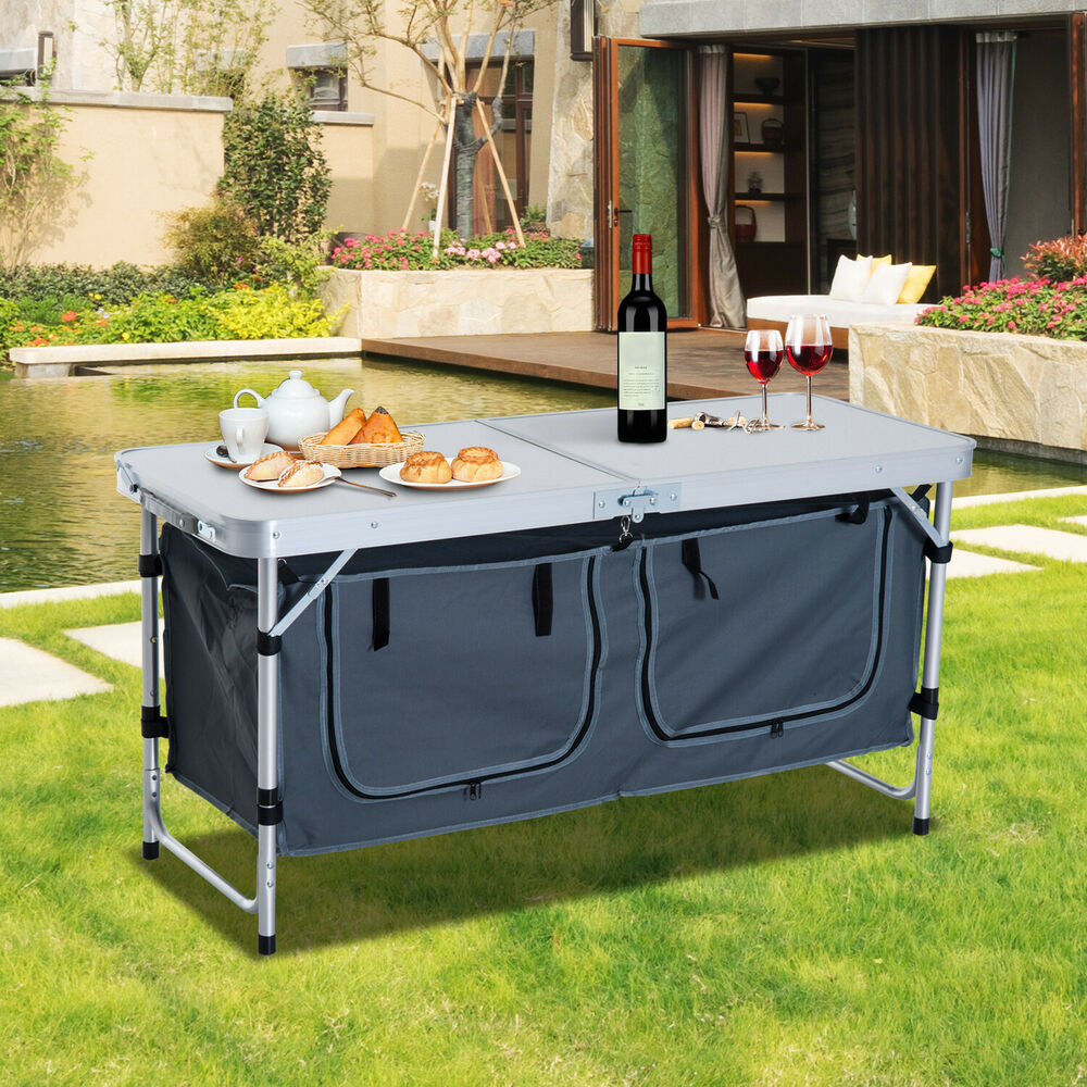 """Camping Kitchen Table: 48"""" Outdoor Portable Aluminum Camping Picnic Folding Table"""