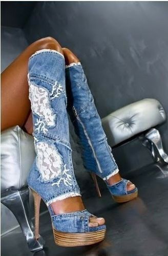 New Womens Open Toe Denim Stilettos Wedge Heel Knee High Boots Shoes Plus Size | eBay