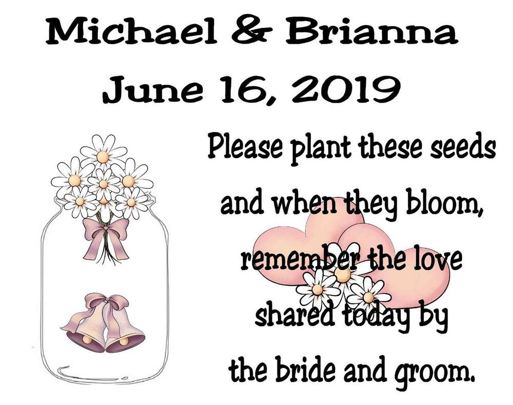 Wedding Seed Packets Favors Mason Jar Daisy Six Verses To Choose From 50 Qty