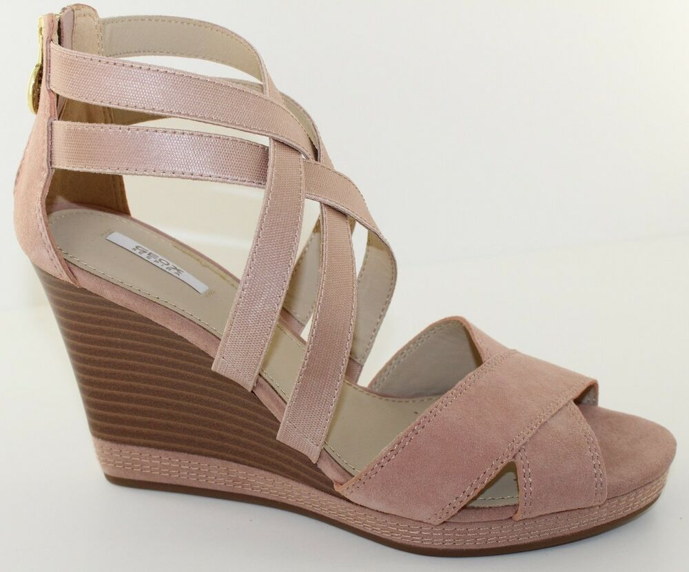 561bc5accdc Details about GEOX D Sibilla Powder Pink Suede Platform Wedge Heels Sandal  Womens Size 9.5 NEW