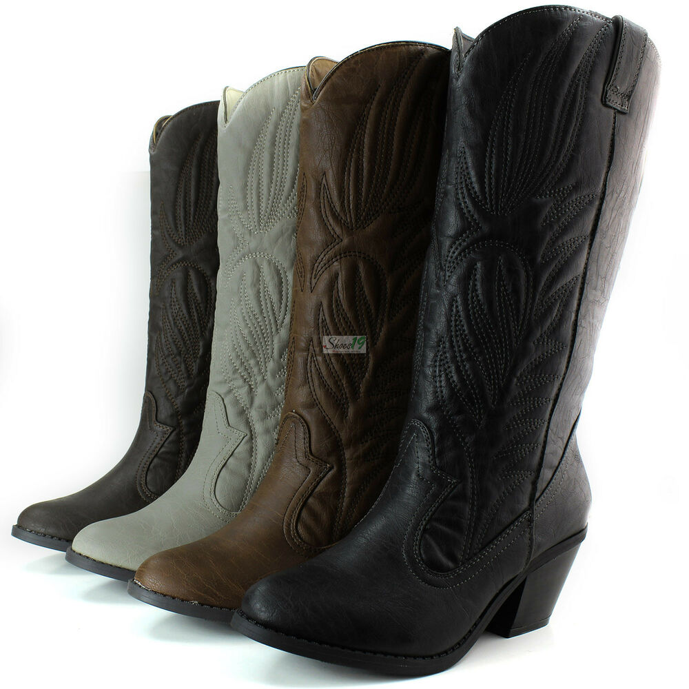 womens western cowboy boots mid calf casual slouch