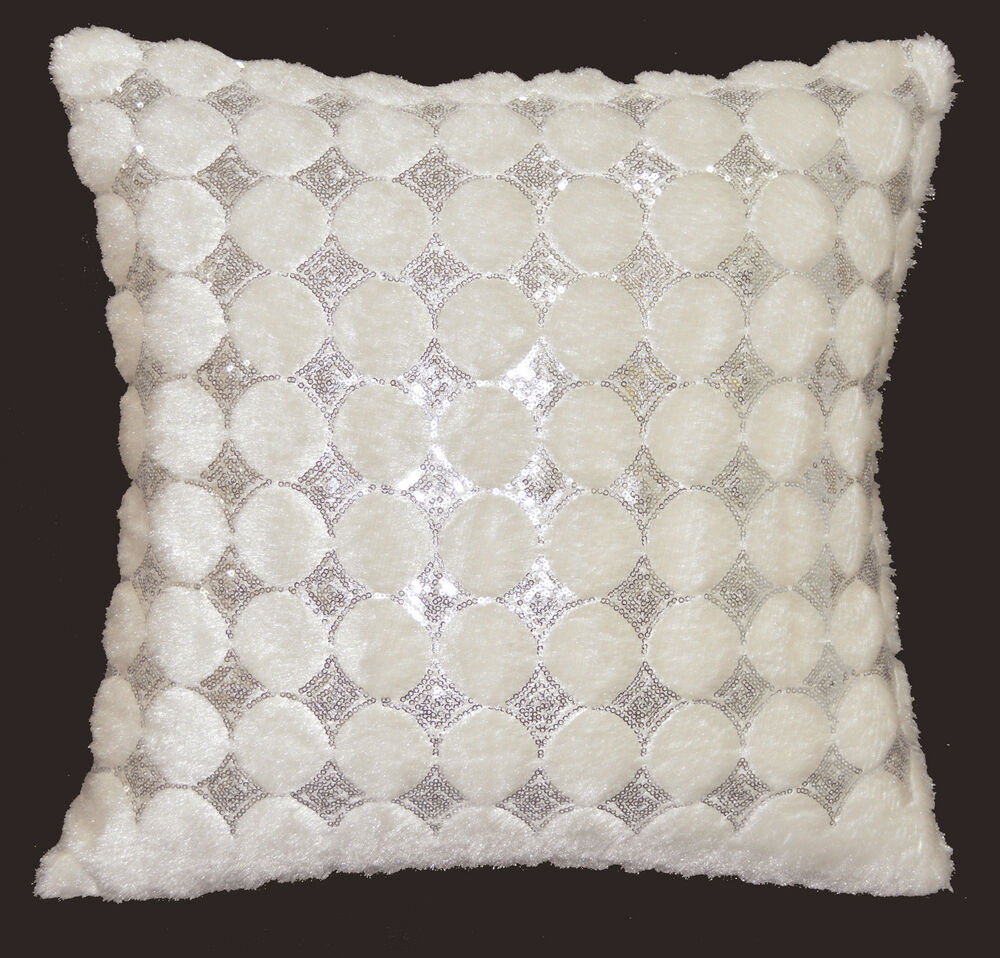 Cream Sequin Throw Pillows : ms06a Cream Ivory Shimmer Silver Sequin Diamond Checked Decorative Cushion Cover eBay