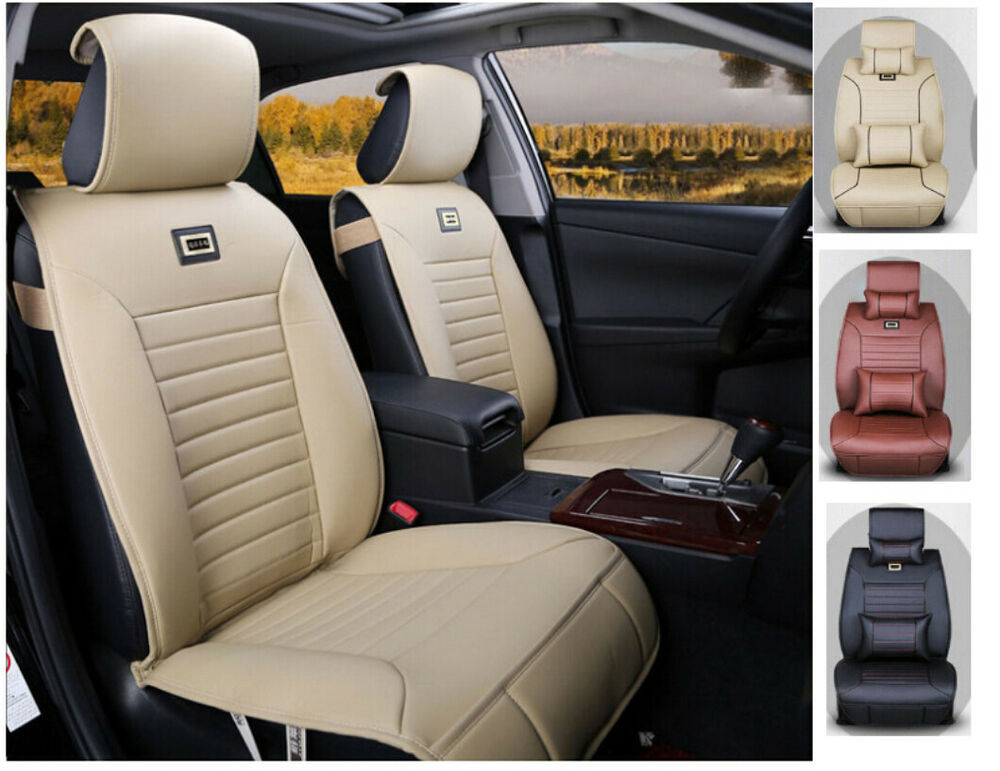 10pcs cream colored pu leather car seat cover for 1 3 5 for Seat covers for mercedes benz c class
