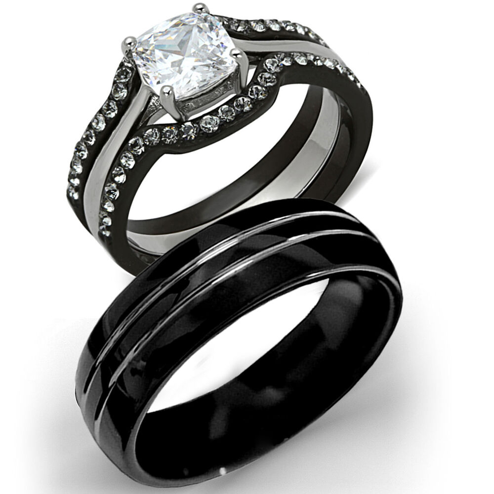 his tungsten hers black stainless steel 4 pc wedding engagement ring band set ebay. Black Bedroom Furniture Sets. Home Design Ideas