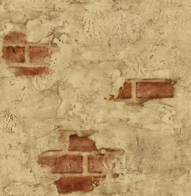 Wallpaper Designer Tuscan Tan Stucco Wall with Red Exposed