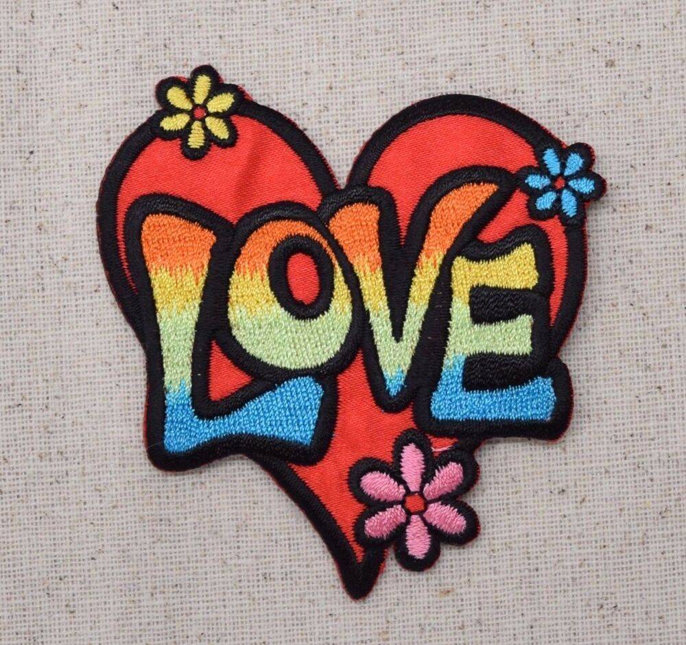 Iron-On Applique Embroidered Patch 60u0026#39;s Love Heart Multi-Color With Flowers | EBay