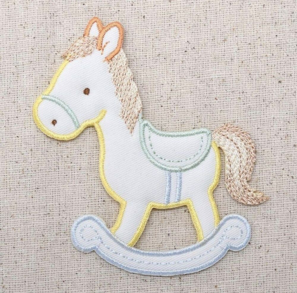 Iron On Embroidered Applique Patch Childrens Puffy Pastel Rocking Horse | EBay
