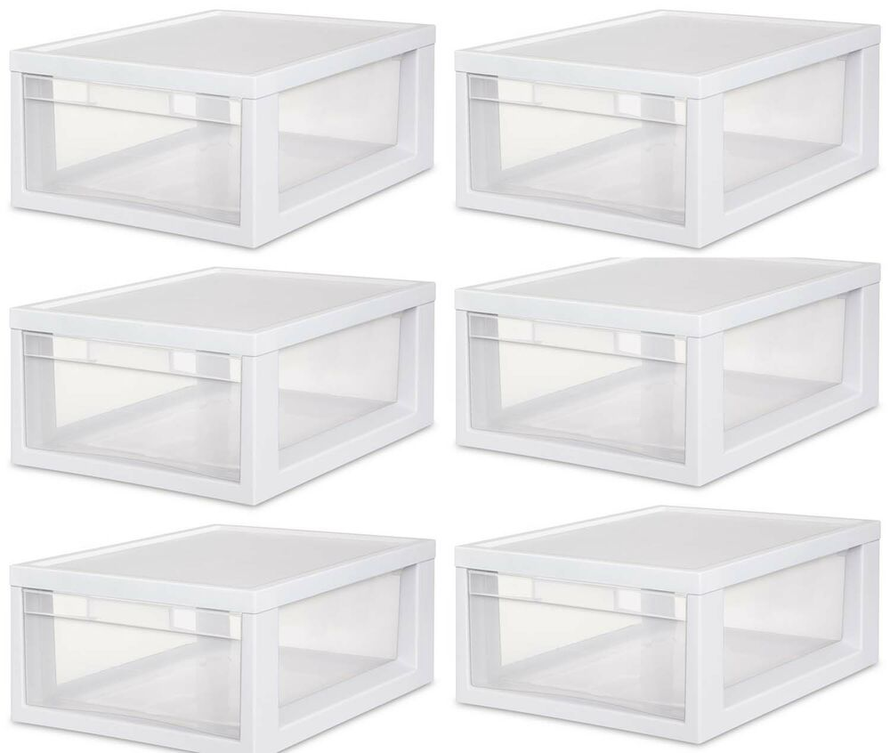 6 Sterilite 23608006 Medium Modular Stacking Storage Drawer Clear Box Containers Ebay