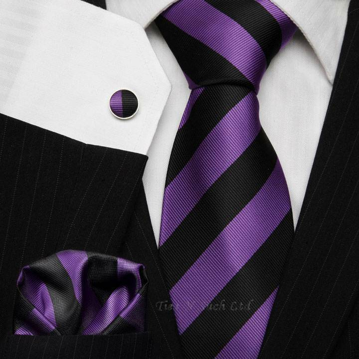 Black Amp Purple Striped Tie Set Football Club Ties