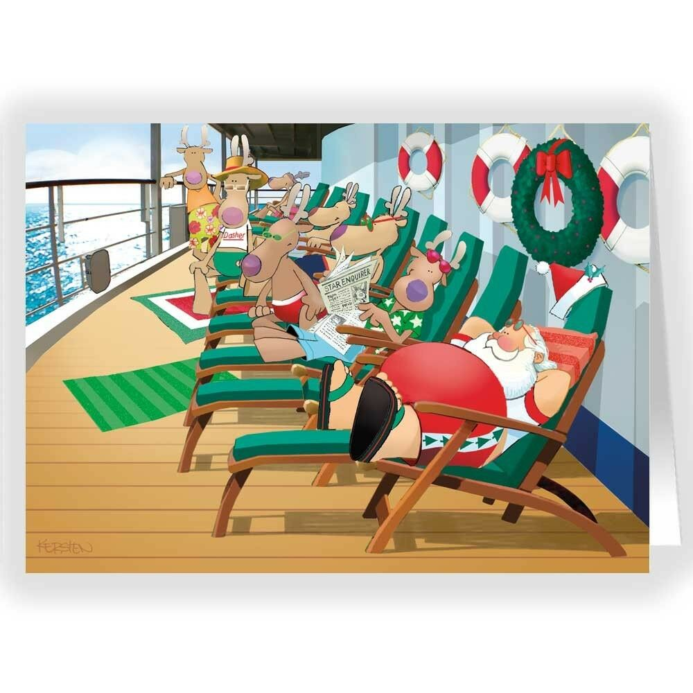 Cruise Ship Lounging Christmas Card - 18 cards & envelopes ...