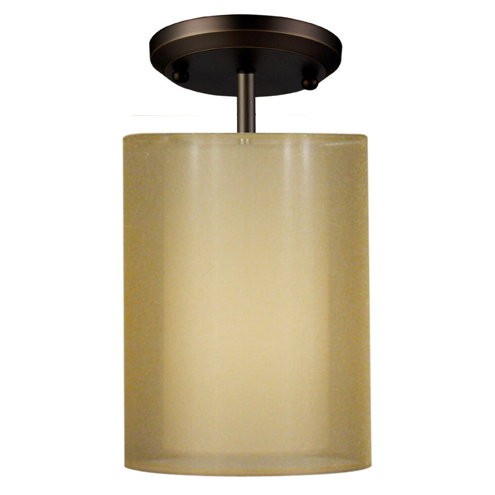Antique Brass Semi Flush Ceiling Light With Opaque And ...