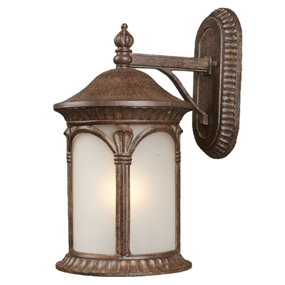 Exterior Lighting: Weathered Bronze And White Seedy Glass Exterior Wall Light