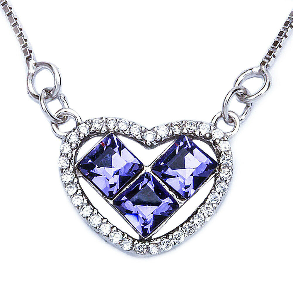 Princess Tanzanite Cz Heart 925 Sterling Silver Pendant