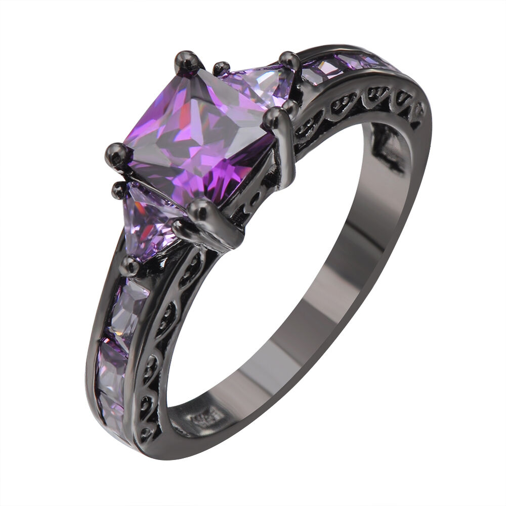 purple wedding ring princes cut purple amethyst engagement band ring 10kt 6921