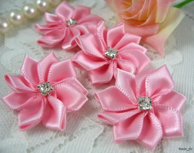 1 1 8 satin ribbon flower rhinestone appliques x25 pink for Craft ribbons and trims