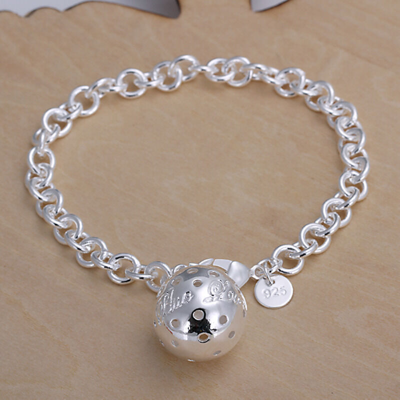 Sterling Silver Charms For Bracelets: Sterling Silver Jewelry Big Ball Pendant Men Women Chain