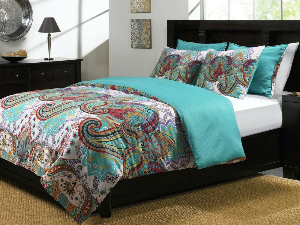 nirvana duvet 3pc king set paisley teal moroccan boho exotic doona cover ebay. Black Bedroom Furniture Sets. Home Design Ideas