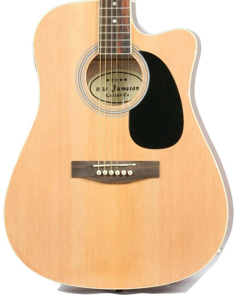 natural acoustic electric guitar with case and picks thinline cutaway by jameson ebay. Black Bedroom Furniture Sets. Home Design Ideas