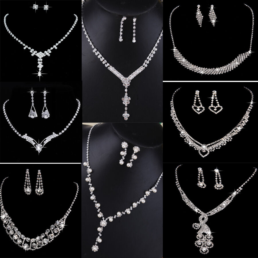 Crystal Pearl Necklace Earring Set Silver Bridal