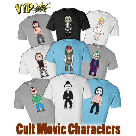 img-VIPwees Mens T-Shirt Cult Movie Characters Inspired Caricatures Choose Design