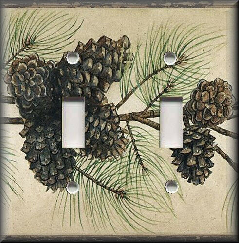 Metal Light Switch Plate Cover Pine Cone Decor Branches