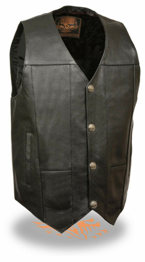 New from Xelement, the Men's 10 Pocket Premium Black Leather Vest. Meant for the biker with plenty of gear to carry around! With 10 pockets all throughout, there's plenty of room to keep your cell phone, wallet, keys and more stored safely with you. Also features lace tie-ups on sides for a secure fit.