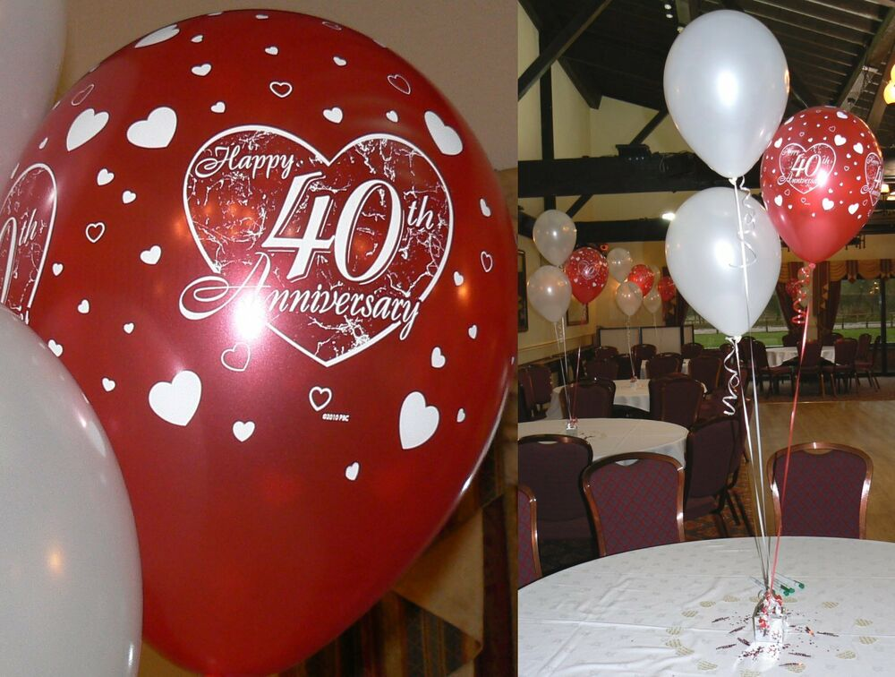 Ruby 40th wedding anniversary balloons 10 table for 40th anniversary party decoration ideas