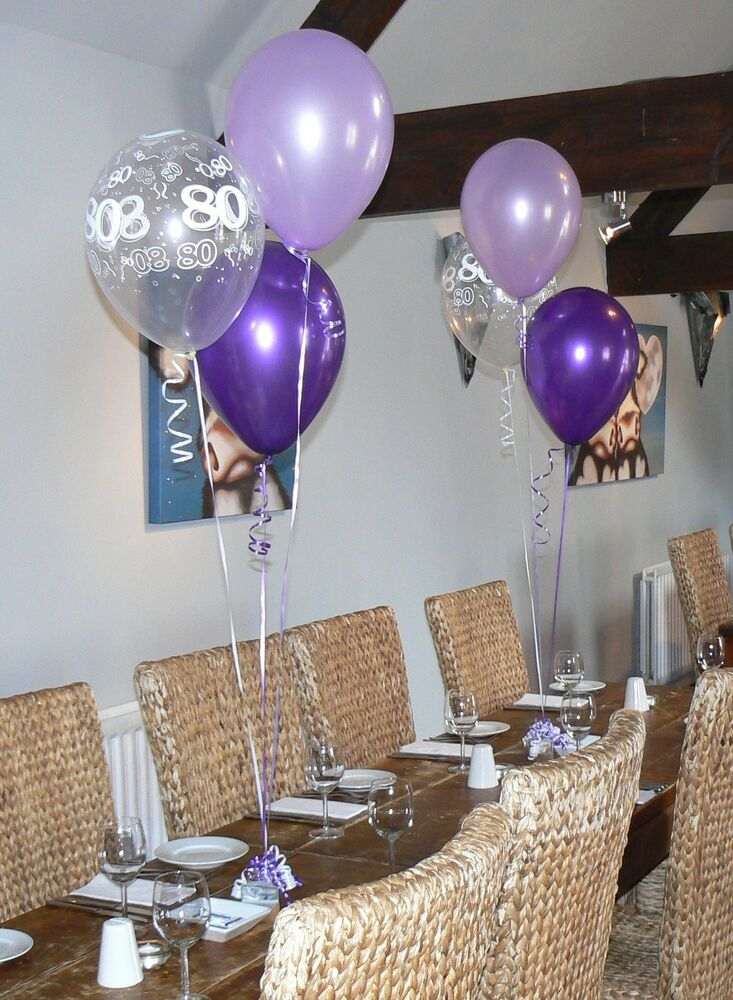 80th birthday balloons 10 table decorations purple and lilac or other colours ebay. Black Bedroom Furniture Sets. Home Design Ideas