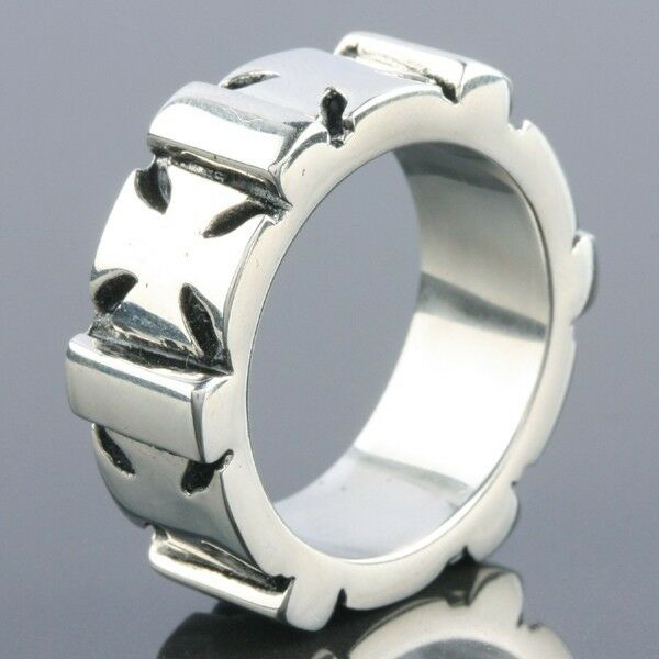 stainless steel chunky cross crucifix band silver