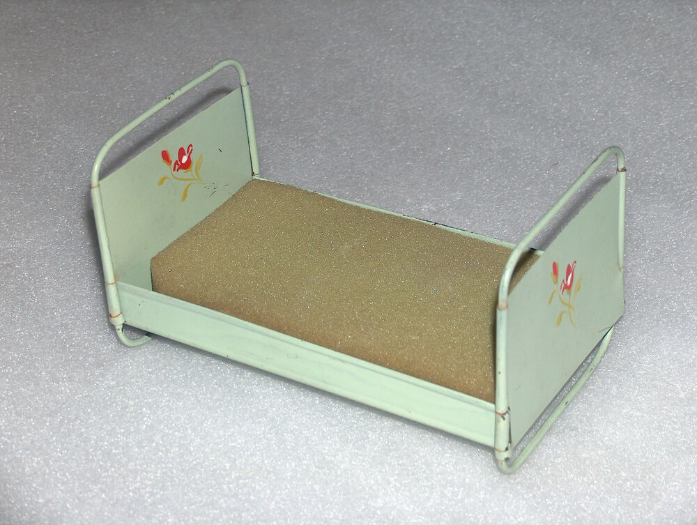 Vintage Doll S Hand Painted Metal Tin Bed Germany 1930