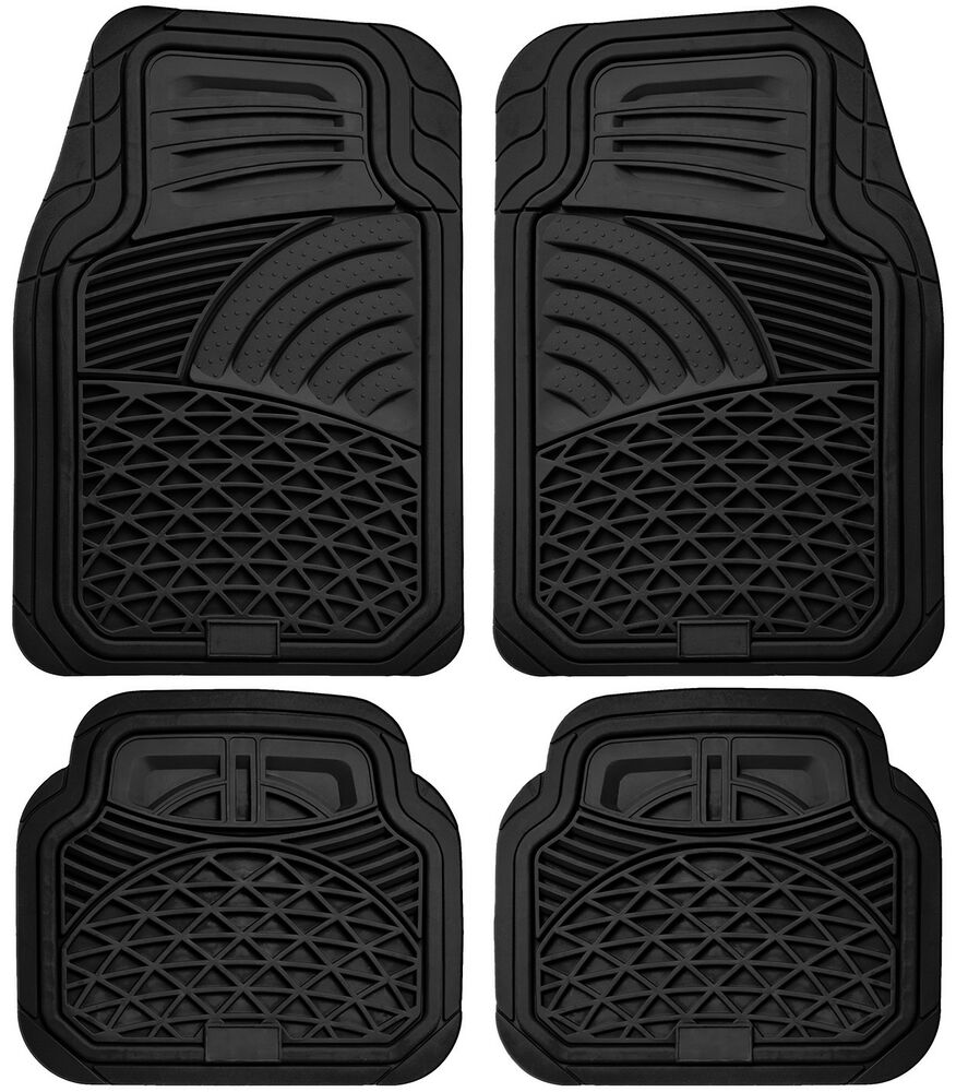Car Floor Mats For All Weather Rubber 4pc Set Tactical Fit Heavy Duty Black Ebay