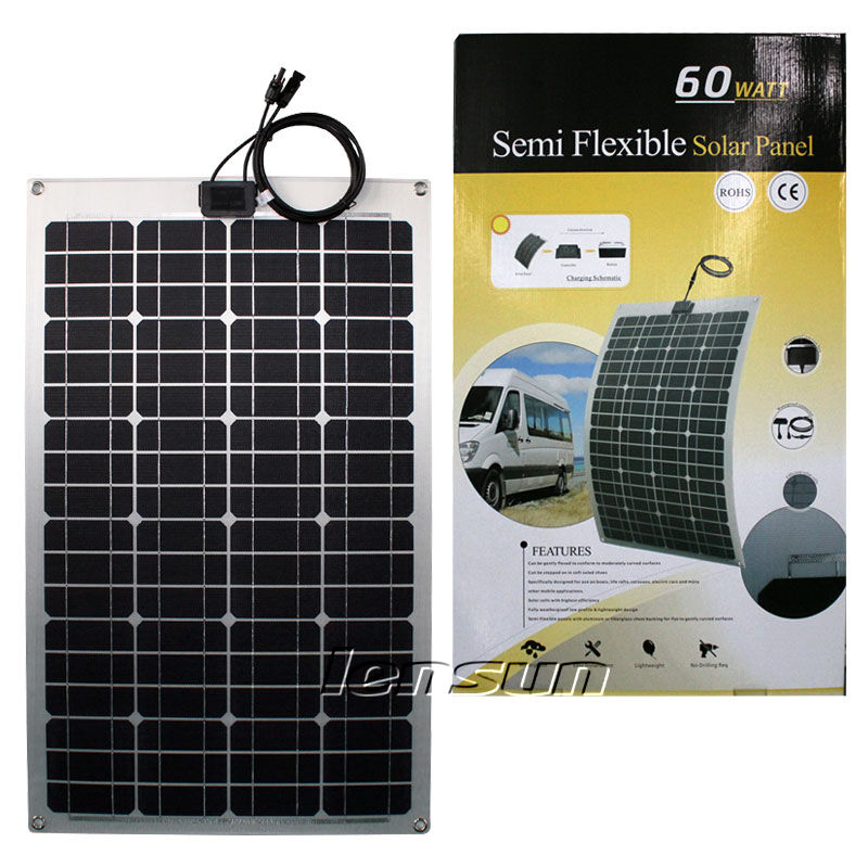 12v 60 watt flexibel solarmodul solarpanel solaranlage. Black Bedroom Furniture Sets. Home Design Ideas