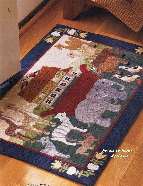 Noah S Ark Animal Hooked Wool 2 X 3 Rug Noah Biblical