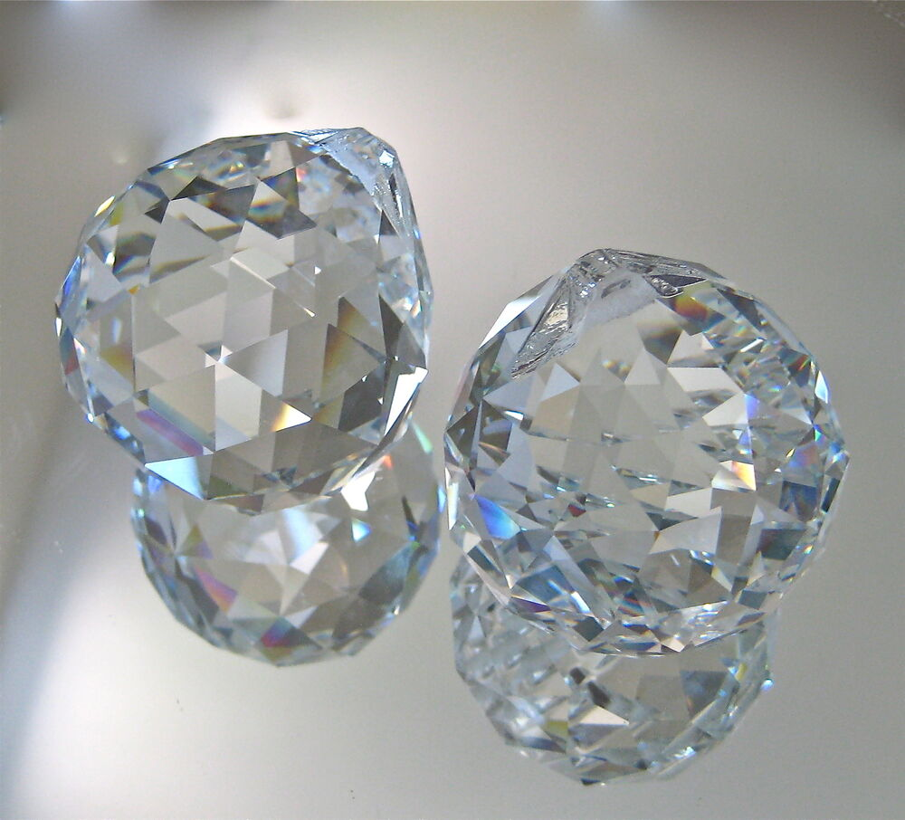 set of two crystal ball prism suncatcher ornaments  leaded