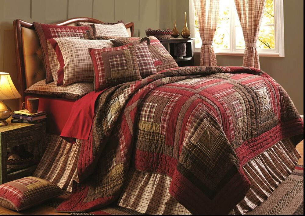 Southwestern Full Queen Quilt Set Red Plaid Brown Lodge