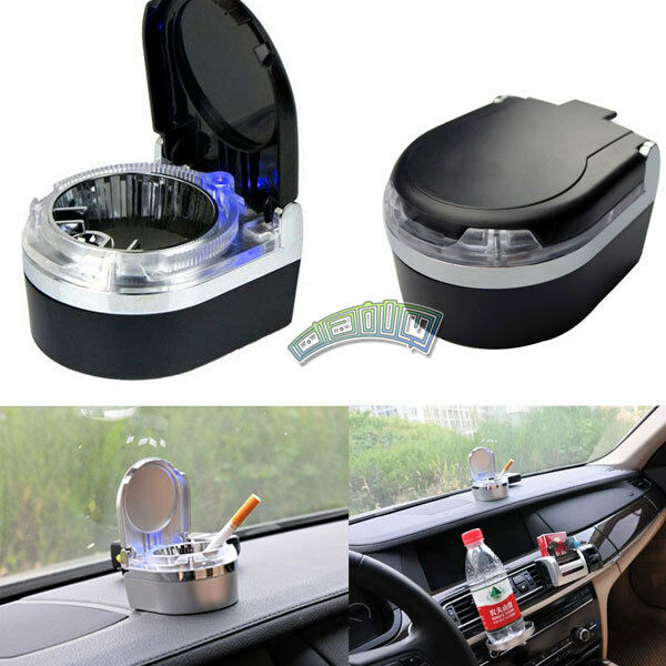 auto car vehicle cigarette smoke ashtray cylinder cup holder stand w led light ebay. Black Bedroom Furniture Sets. Home Design Ideas