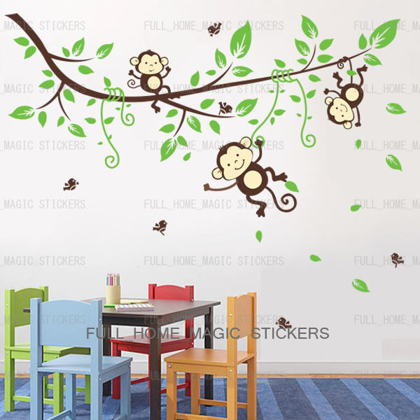 Jungle monkey tree wall stickers art decal paper baby kids for Nice safari wall decals for nursery