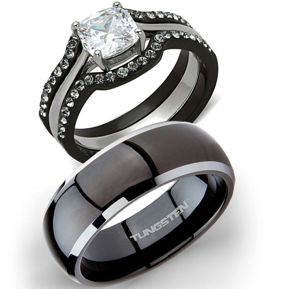 his tungsten hers 4 pc black stainless steel wedding engagement ring band set ebay. Black Bedroom Furniture Sets. Home Design Ideas